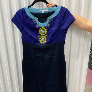 Boden Blue Dress  with Yellow and Blue Detail